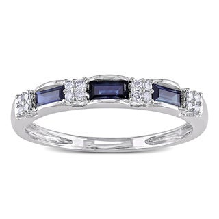 Miadora 10k White Gold Sapphire and 1/10ct TDW Diamond Ring (H-I, I1-I2)