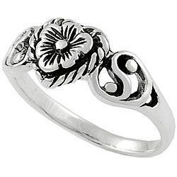Tressa Sterling Silver Heart and Flower Ring