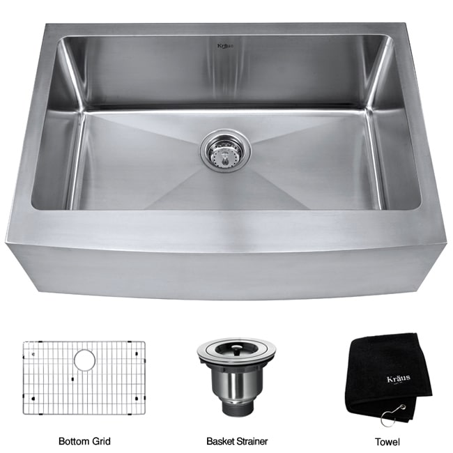 Kraus 30-inch Farmhouse Apron Single Bowl Steel Kitchen Sink ...