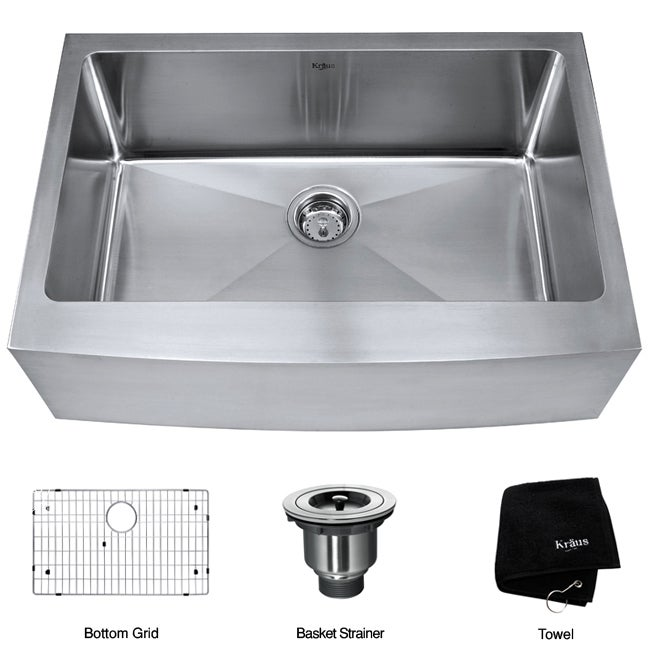 30 In Farmhouse Sink : Kraus 30-inch Farmhouse Apron Single Bowl Steel Kitchen Sink ...