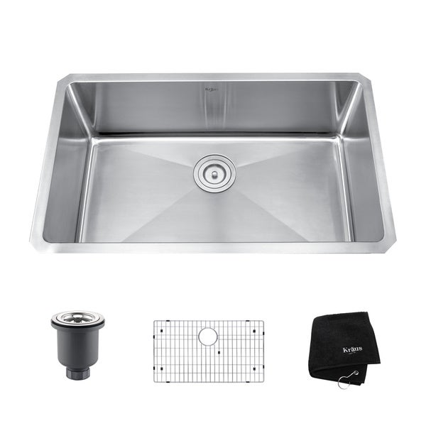 Kraus 30-inch Undermount Single Bowl Steel Kitchen Sink - Overstock ...