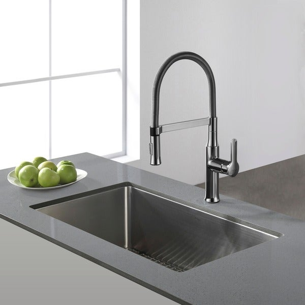 Undermount Sink Pictures : Kraus 30-inch Undermount Single Bowl Steel Kitchen Sink - 11477701 ...
