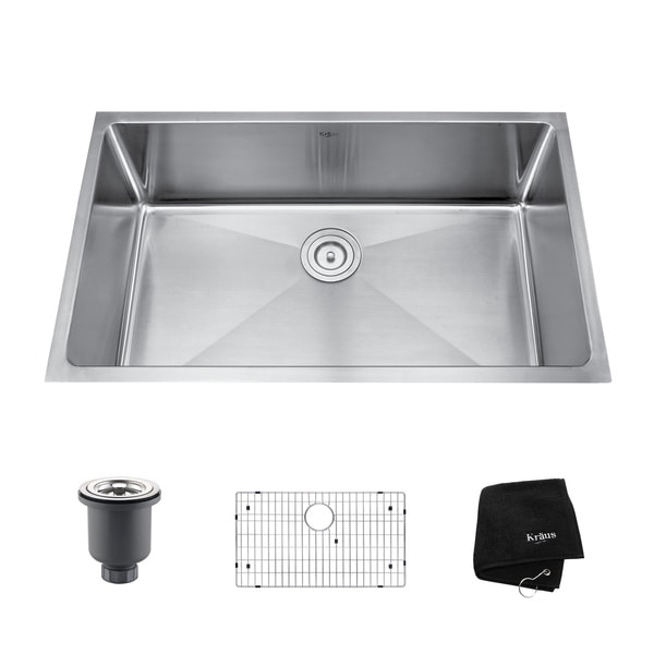 Kraus 32 Inch Undermount : Kraus 32-inch Undermount Single Bowl Steel Kitchen Sink - Overstock ...