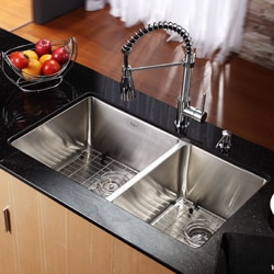 Kraus 33-inch Undermount 60/40 Double Bowl Steel Kitchen Sink