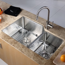Kraus 32-inch Offset Double Bowl Stainless Steel Kitchen Sink