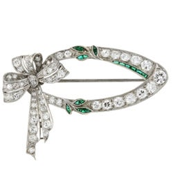 Pre-owned Platinum 2 1/10ct TDW Diamond/ Emerald Art Deco Estate Brooch (I, VS2)
