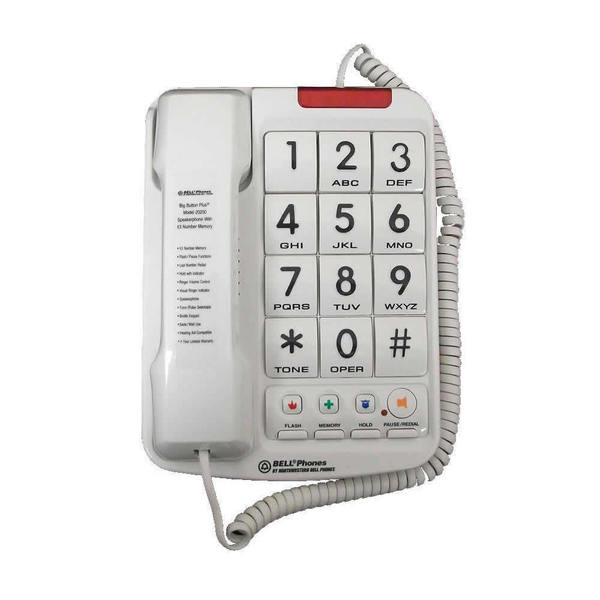 Northwestern Bell White/Black Large-button Phone with Braille