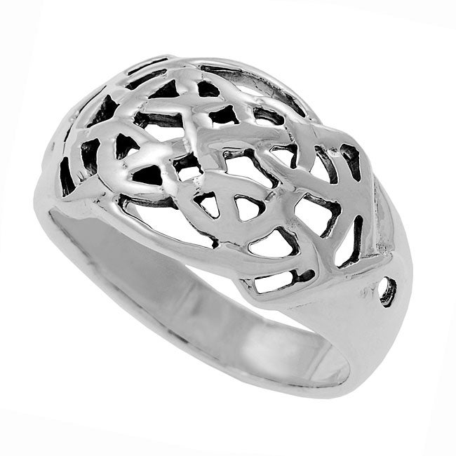 Journee Sterling Silver Celtic Woven Ring