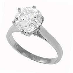 Journee Collection Sterling Silver CZ Solitaire Bridal Engagement Ring