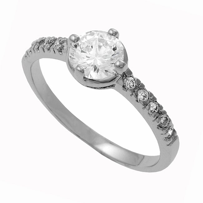 Journee Collection Round-Cut Sterling Silver CZ Bridal Engagement Ring
