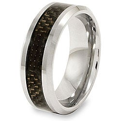 Crucible Men's Tungsten Black Carbon Fiber Inlay Beveled Edge Band (8 mm)