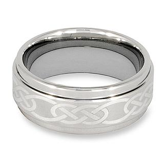 Crucible Men's Tungsten Polished Lasered Celtic Knot Design Band (9 mm)