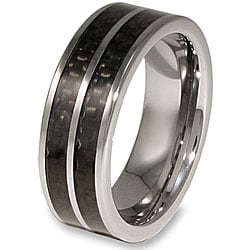 Crucible Men's Tungsten Double Black Carbon Fiber Inlay Band (8 mm)