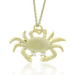 Icz Stonez 18k Yellow Gold over Sterling Silver Crab Necklace