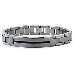 Men's Titanium ID Bracelet with Black Resin Inlay