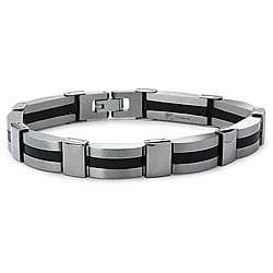 Men's Titanium and Black Rubber Bracelet