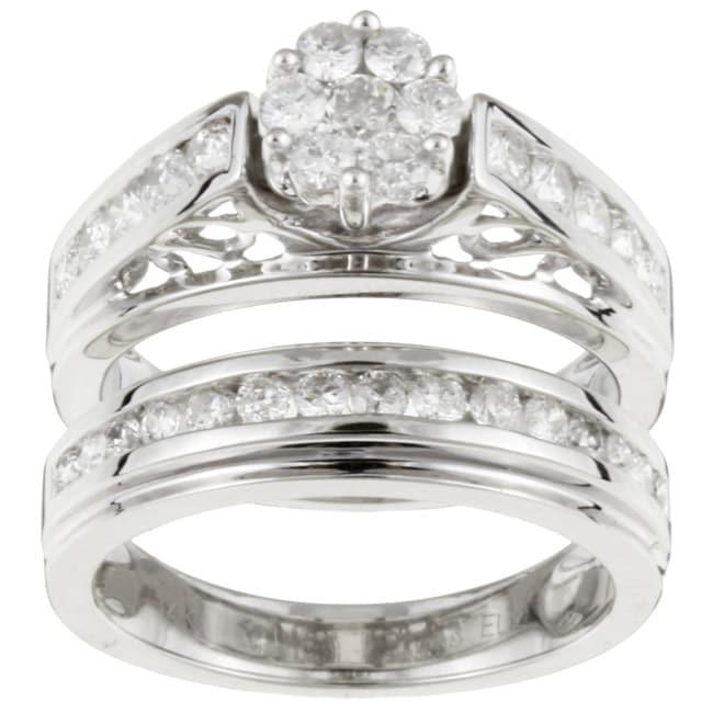 14k White Gold 1 Carat TDW Diamond Wedding Ring Set (G-H, I2)