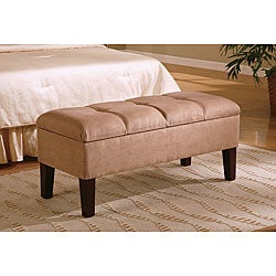 Tan Button-Tufted Microfiber Storage Bench