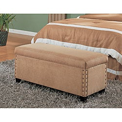 Tan Microfiber Storage Bench
