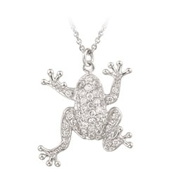 Icz Stonez Sterling Silver CZ Frog Necklace