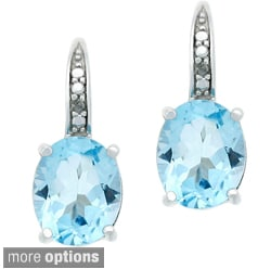 Glitzy Rocks Sterling Silver 6.4 CTW Blue Topaz and Diamond Accent Leverback Earrings