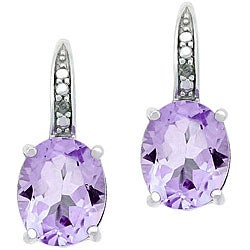 Glitzy Rocks Sterling Silver 4.7 CTW Rose de France/ Diamond Earrings
