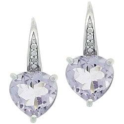 Glitzy Rocks Sterling Silver Rose de France/ Diamond Heart Earrings