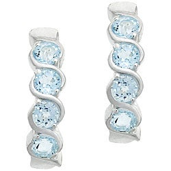 Glitzy Rocks Sterling Silver Blue Topaz Twirl Earrings