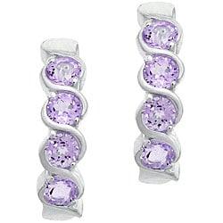 Glitzy Rocks Sterling Silver Amethyst Half-hoop Earrings