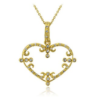 Icz Stonez 18k Gold overlay Cubic Zirconia Heart Necklace