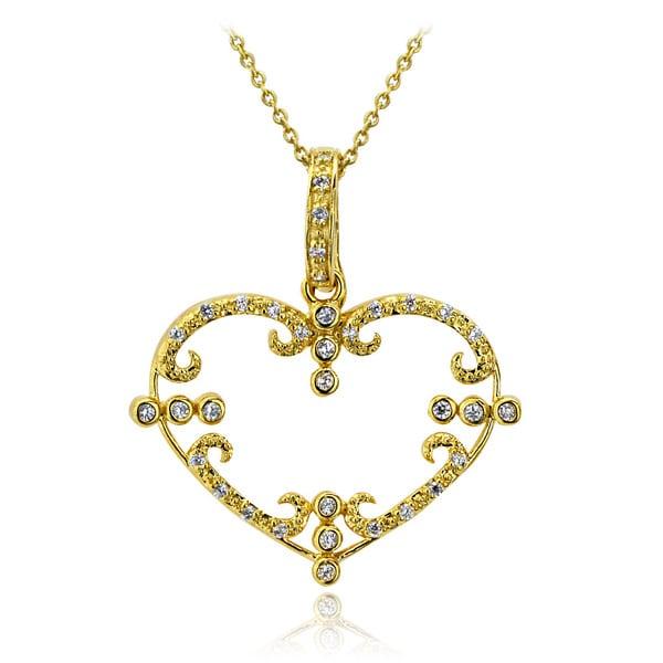 Icz Stonez 18k Gold overlay Cubic Zirconia Heart Necklace