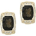 Glitzy Rocks 18k Gold Overlay Smokey Quartz and White Topaz Earrings