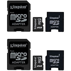 Kingston 2 GB Micro SD Cards with Dual Adapters (Case of 2)