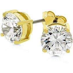 Kate Bissett 14k Yellow Gold over Sterling Silver CZ Stud Earrings