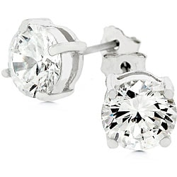 Kate Bissett 14k White Gold over Silver CZ Stud Earrings