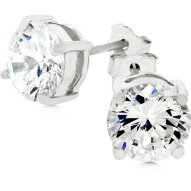 Kate Bissett 14k White Gold-over-Sterling Silver CZ Stud Earrings
