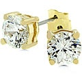 Kate Bissett 14k Yellow Gold Over Sterling Silver 2 Carat CZ Stud Earrings