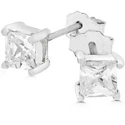 Kate Bissett Sterling Silver Princess-cut CZ Mini Stud Earrings