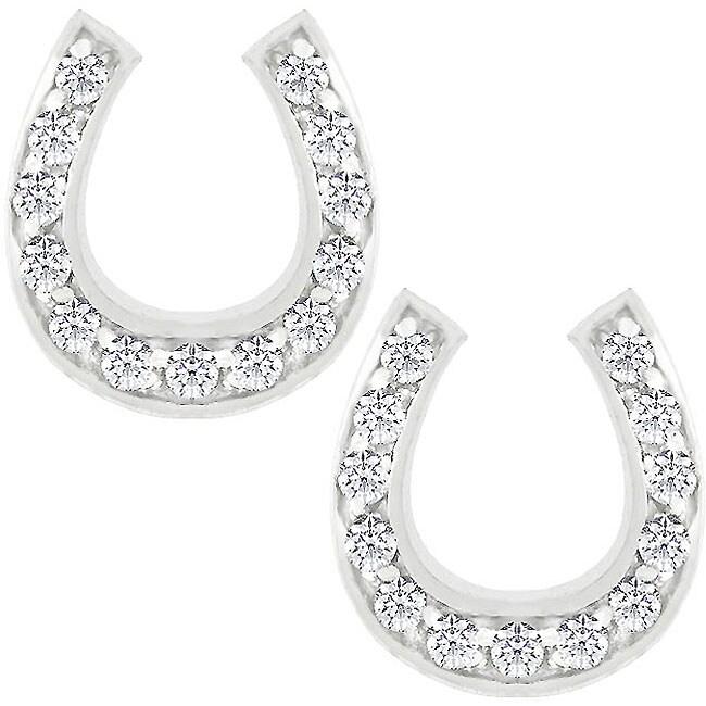 Kate Bissett Silvertone Cubic Zirconia Horseshoe Earrings
