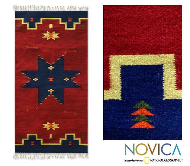 Zapotec 'Universe Star' Wool Rug (2'5 x 5')