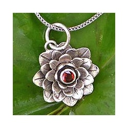 Garnet 'Sacred Red Lotus' Necklace (Indonesia)