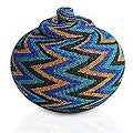 Beaded Rattan 'Ocean Thunder' Basket (Indonesia)