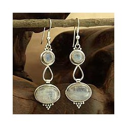 Sterling Silver 'Goddesses' Moonstone Earrings (India)