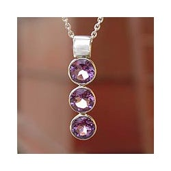 Sterling Silver 'Lilac Trio' Amethyst Necklace (India)