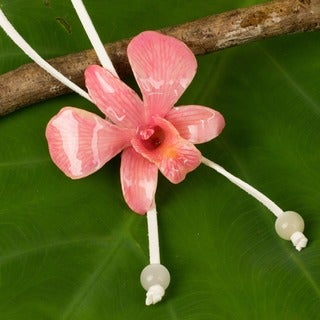 Natural Orchid 'Exotic Strawberry Bloom' Necklace (Thailand)