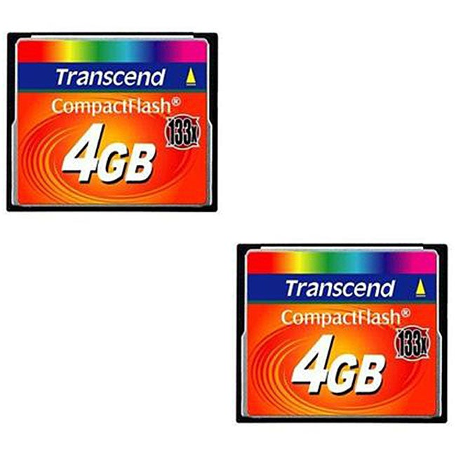 Transcend 4 GB 133X Compact Flash Cards (Case of 2)
