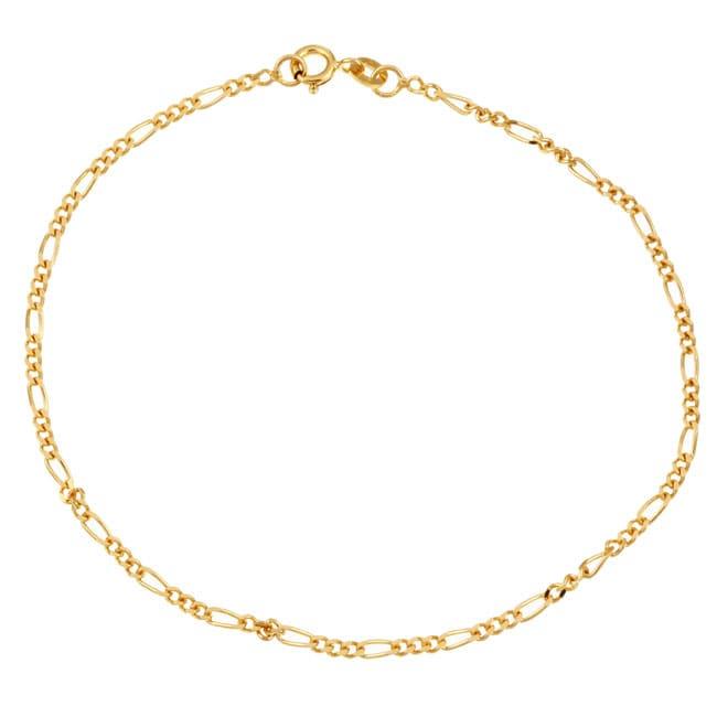 Sterling Essentials 14K Gold over Silver 9-inch Figaro Anklet