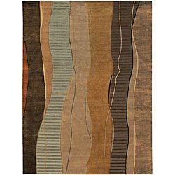 Hand-knotted Green Stripe Contemporary Ronse Wool Abstract Rug (9' x 13')