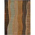Hand-knotted Brown Stripe Contemporary Ronse Wool Abstract Rug (9' x 13')
