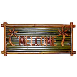 Bamboo 'Welcome' Tiki Sign (Vietnam)
